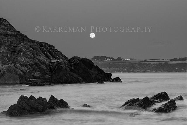 Church Bay Moonrise-BW